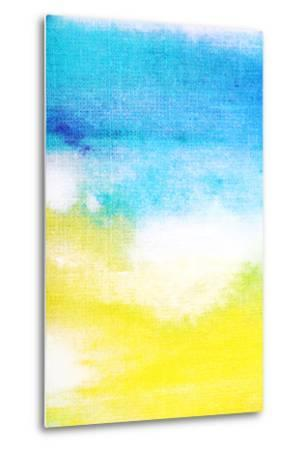 Abstract Textured Background: White and Yellow Patterns on Blue Sky-Like Backdrop. for Art Texture,-iulias-Metal Print