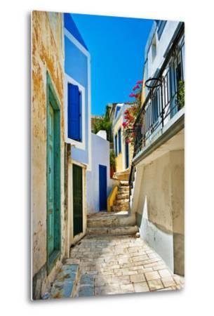 Pretty Colored Streets of Greek Islands-Maugli-l-Metal Print