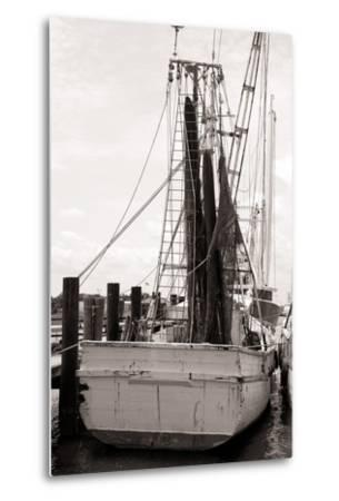 Old Shrimp Boat in Marina-R. Peterkin-Metal Print
