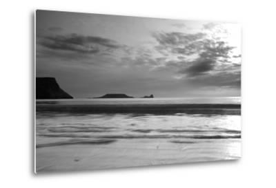 Monochrome Seascape, Rhossili, Gower, Wales.-Swellphotography UK-Metal Print