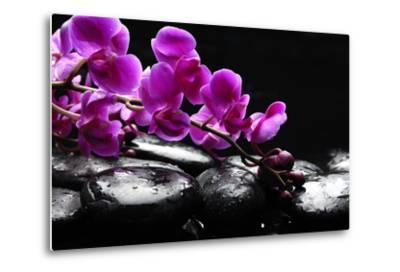 Zen Stone and Pink Orchid with Reflection-crystalfoto-Metal Print