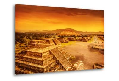 Pyramids of the Sun and Moon on the Avenue of the Dead, Teotihuacan Ancient Historic Cultural City,-Anna Omelchenko-Metal Print