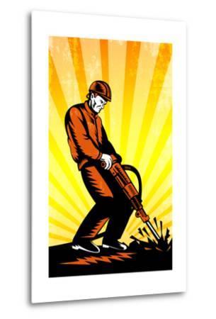 Construction Worker Jackhammer Retro Poster-patrimonio-Metal Print