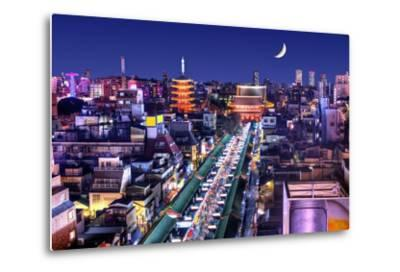 Skyline of the Asakusa District in Tokyo, Japan with Famed Temples.-SeanPavonePhoto-Metal Print