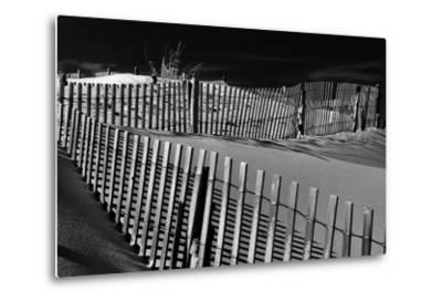 Dunes and Fences at Cape Henlopen State Park, on the Atlantic Coast in Delaware.-Jon Bilous-Metal Print