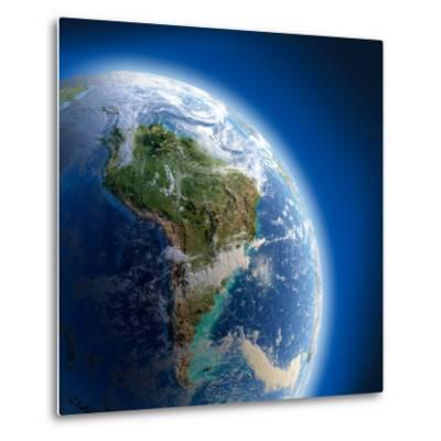 Earth With High Relief, Illuminated By The Sun-Antartis-Metal Print