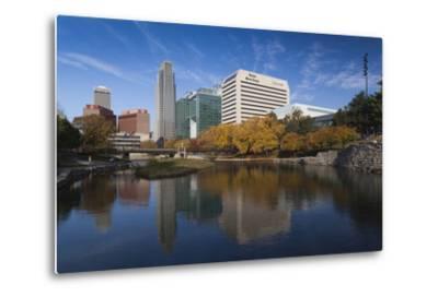 Gene Leahy Mall Skyline, Omaha, Nebraska, USA-Walter Bibikow-Metal Print