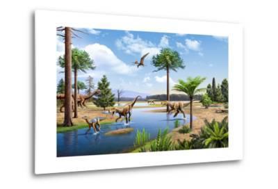 Two Herrerasaurus Dinosaurs Chasing a Silesaurus Down a Stream--Metal Print