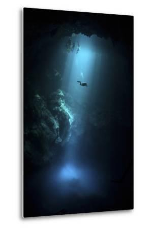 Scuba Diver Descends into the Pit Cenote in Mexico--Metal Print