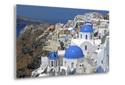The Town of Oia on the Island of Santorini, Greece-David Noyes-Metal Print
