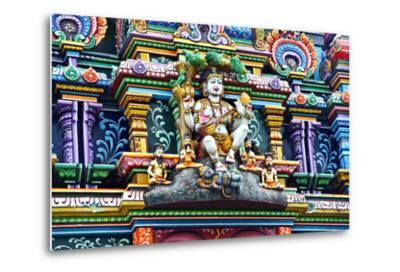An Intricate Colorful Statue of Shiva at a Hindu Temple-Jason Edwards-Metal Print