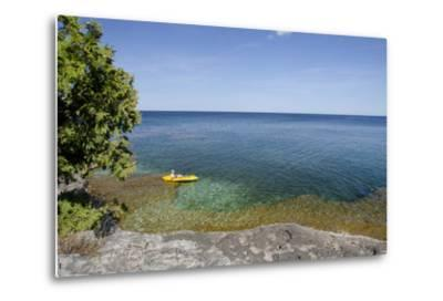 Cave Point County Park, Lake Michigan, Door County, Wisconsin, USA-Cindy Miller Hopkins-Metal Print