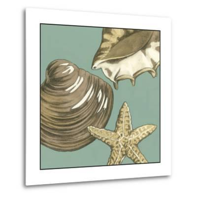 Small Shell Trio on Blue IV-Megan Meagher-Metal Print