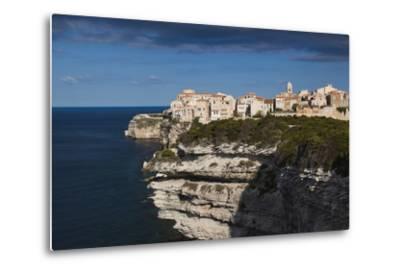 Elevated View of City and Cliffs, Bonifacio, Corsica, France-Walter Bibikow-Metal Print