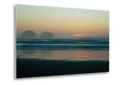 The Light of Sunset Reflects on Shallow Pacific Waters at Twin Rocks-Vickie Lewis-Metal Print