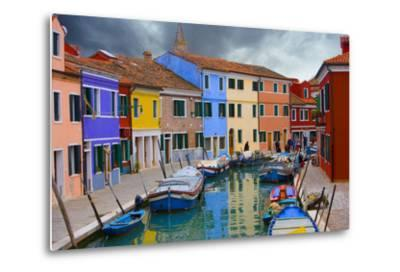 Colorful Buildings Line Canal with Boats, Burano Island, Venice, Italy-Jaynes Gallery-Metal Print