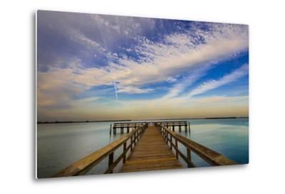 Sunrise on the Pier at Terre Ceia Bay, Florida, USA-Richard Duval-Metal Print