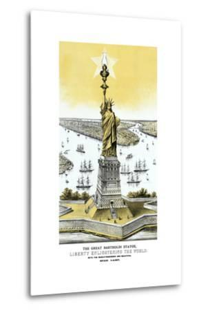 Vintage Color Architecture Print Featuring the Statue of Liberty--Metal Print