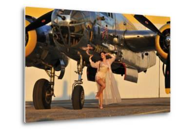 Sexy 1940's Pin-Up Girl in Lingerie Posing with a B-25 Bomber--Metal Print