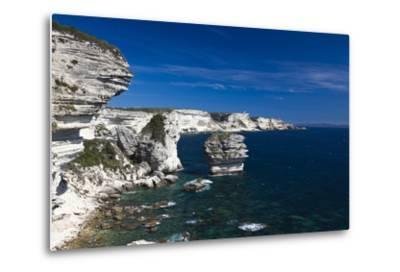 Falaises Cliffs Towards Capo Pertusato, Bonifacio, Corsica, France-Walter Bibikow-Metal Print