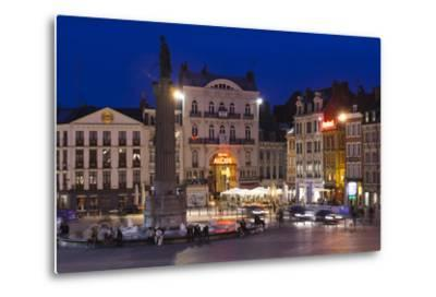 Dusk, Grand Place, Lille, French Flanders, France-Walter Bibikow-Metal Print