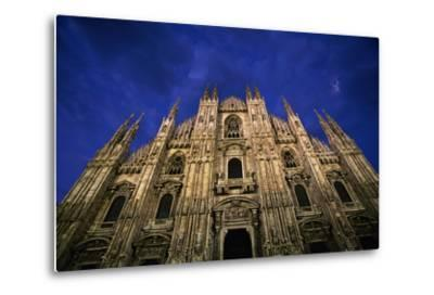 Italy, Lombardy, Milan, Duomo, Florence Cathedral at Dusk-Walter Bibikow-Metal Print