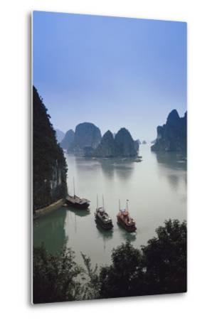 Vietnam, Halong Bay, Tourist Boats Anchor at the Cave of Marvels-Walter Bibikow-Metal Print