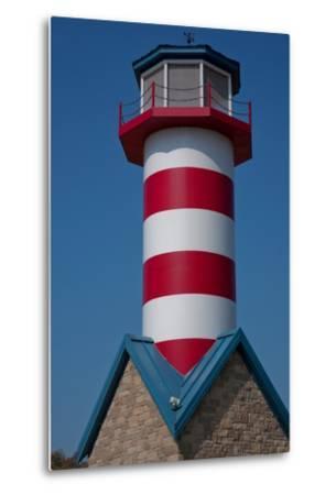 Grafton Illinois Red and White Striped Lighthouse-Joseph Sohm-Metal Print