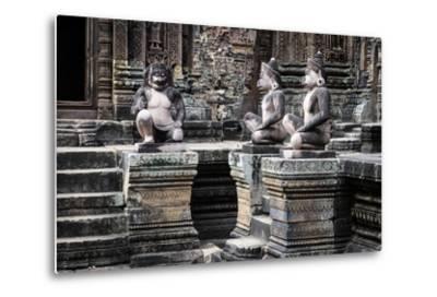 Cambodia, Angkor Wat. Banteay Srei Temple, Three Monkey Statues-Matt Freedman-Metal Print