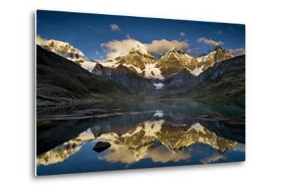 Mount Yerupaja Reflects in Lake Huayhuish, Andes Mountains, Peru-Howie Garber-Metal Print