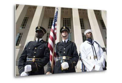 Members of the Honor Guard Stand at Attention in Front of the Pentagon--Metal Print
