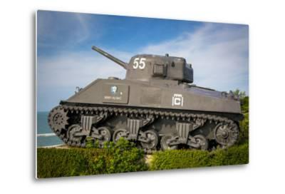 Us Army Sherman Tank on Display at Arromanches-Les-Bains, France-Brian Jannsen-Metal Print