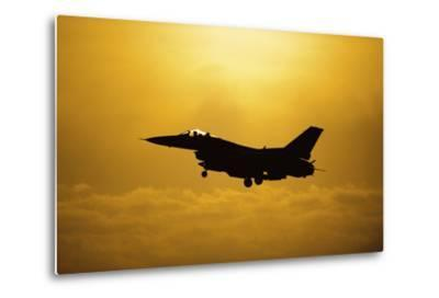 An F-16 Fighting Falcon Comes in for Landing--Metal Print