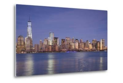 USA, New York, New York City, Lower Manhattan and Freedom Tower, Dusk-Walter Bibikow-Metal Print