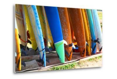 Surf Boards Standing on Kuta Bali Beach-bioraven-Metal Print