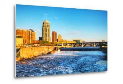 Downtown Minneapolis, Minnesota at Night Time and Saint Anthony Falls-photo.ua-Metal Print