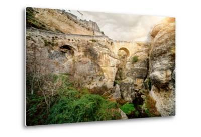 Ronda Bridge and Canyon, Spain-amok-Metal Print