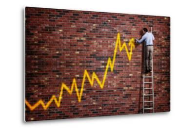 Businessman Standing on a Ladder and Drawing a Graph with Positive Trend in Graffiti Style Yellow S-Flynt-Metal Print