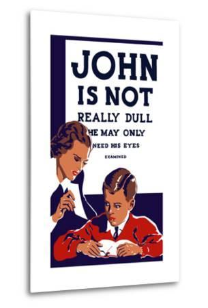 Vintage Wpa Propaganda Poster Featuring a Teacher and Young Boy Reading--Metal Print