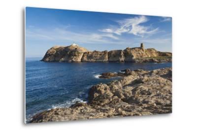 Lighthouse and Tower, Ile De La Pietra, Ile Rousse, Corsica, France-Walter Bibikow-Metal Print