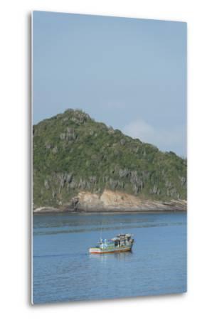 Colorful Fishing Boat Off the Coast of Buzios, Rio De Janeiro, Brazil-Cindy Miller Hopkins-Metal Print