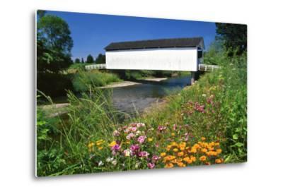 Gallon House Covered Bridge over Abiqua Creek, Oregon, USA-Jaynes Gallery-Metal Print
