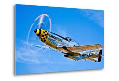 A North American P-51D Mustang in Flight Near Chino, California--Metal Print
