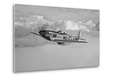 A P-51D Mustang in Flight Near Hollister, California--Metal Print