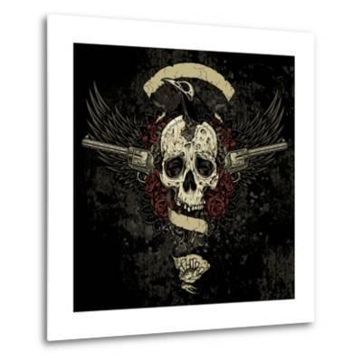 Raven Skull Collage- vectorbomb-Metal Print