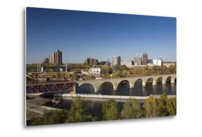 Mississippi River and City Skyline, Minneapolis, Minnesota, USA-Walter Bibikow-Metal Print