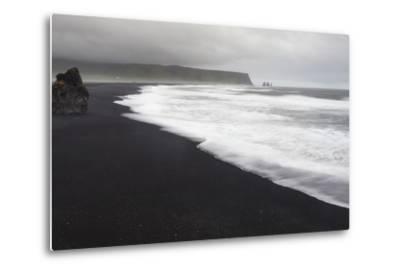Basalt Column Rises from Black Sand Beach on Rainy Day, Vik, Iceland-Jaynes Gallery-Metal Print