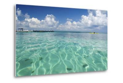 Kayaker in Blue Waters, Southwater Cay, Belize-Cindy Miller Hopkins-Metal Print