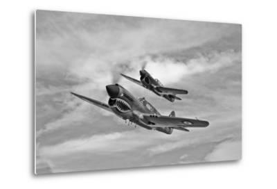 Two Curtiss P-40 Warhawks in Flight Near Nampa, Idaho--Metal Print