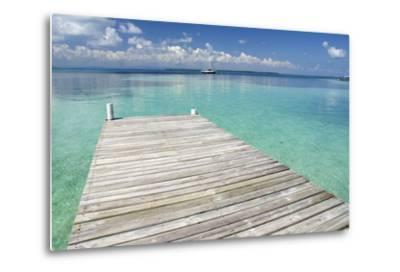 Pier over Clear Waters, Southwater Cay, Stann Creek, Belize-Cindy Miller Hopkins-Metal Print